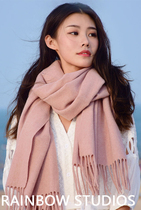2017 autumn wool scarves ladies Korean wild long thick dual-use pure cashmere scarf shawl