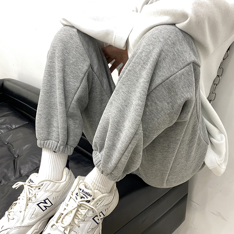 Grey sweatpants women loose-fitting feet spring autumn and winter 2021 new model show thin with small harlan casual thick cotton pants