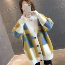 Winter ins super fire imitation mink velvet net red sweater cardigan 2018 new mid long knitted coat autumn winter