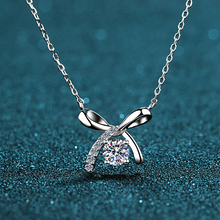 D-colour 50-minute Mozan Diamond Pendant 925 Sterling Silver Necklace electric thick Gold Bow Necklace clavicle woman