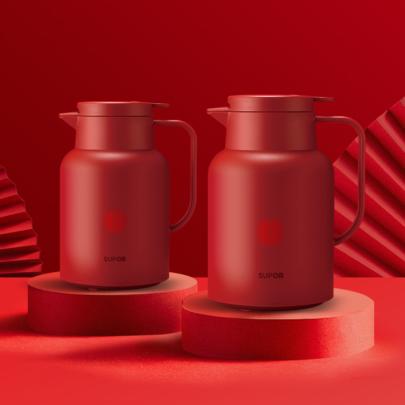 Supor insulation kettle household glass insulation hot water bottle portable warm pot married red couple