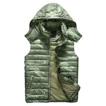 Military fans autumn winter camouflage down vest men and women thickened and fatter increase hooded trend vest leisure ride shoulder