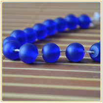 Antique Boshan handmade old glass bead beads with beads 11-12mm scattered beads deep sapphire blue Ancient method scrub