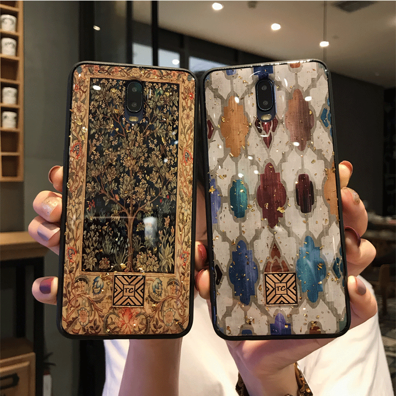 Oppor17 mobile phone case r17pro protective cover fall proof oppor15 standard soft shell drop glue glass R15 dream Chinese style illustration oppor11s mobile phone case r11splus all around