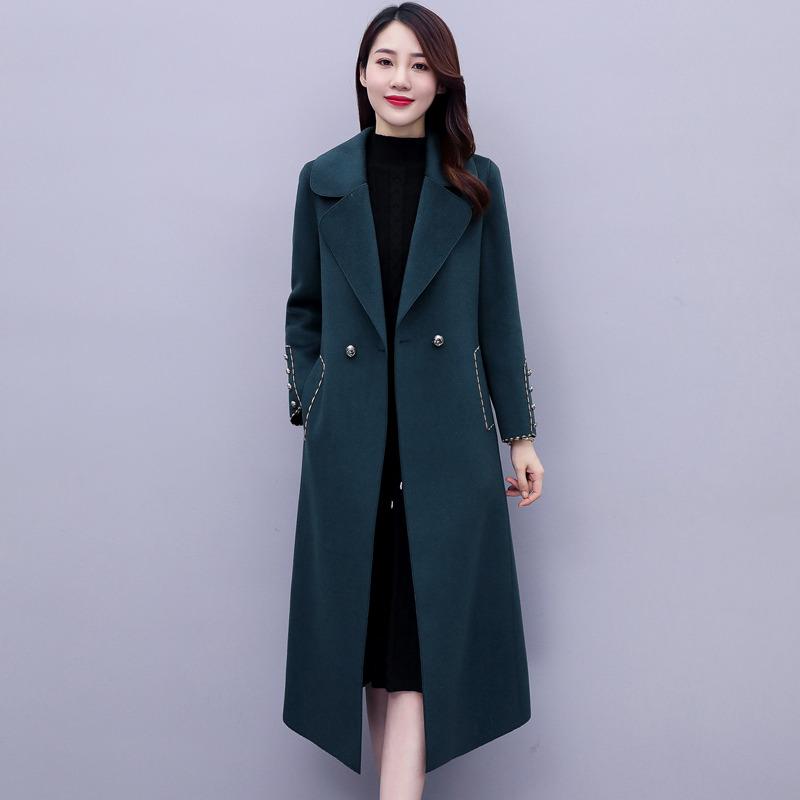Pure wool double-sided coat womens winter 2020 new Korean version waist temperament suit collar blue hair coat