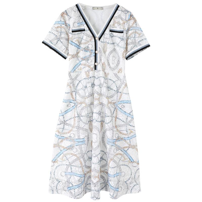 (Robe d'été en direct sur le nouveau) gros mm mince impression océan jupe de grande taille femme tempérament V-cou robe
