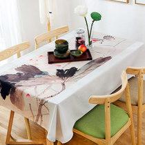 New Chinese tea table Cotton Hemp coffee table Chinese wind lotus rectangular tablecloth Tea Zen linen table Fabric