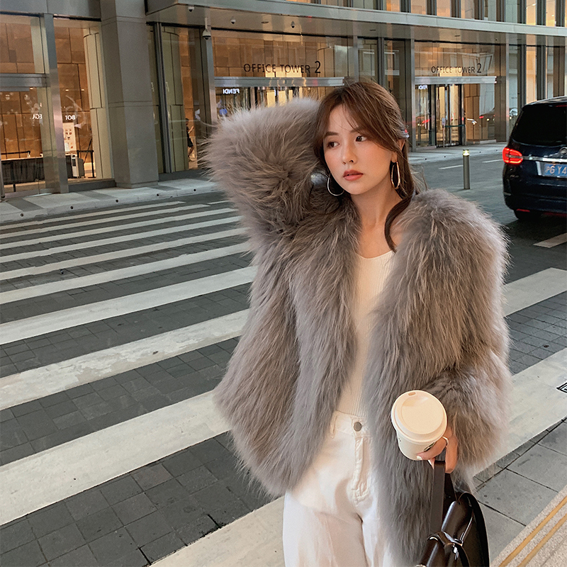 2020 autumn and winter new mule hair double-sided braided fur coat female medium-length version of Mao Haining young fashion