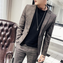 New small suit male Korean version slim trend youth handsome two-piece casual formal men Suit Suit XZ
