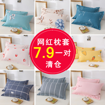 One pair)Full-Color pillowcase washed cotton adult pillowcase single cartoon pillow cover 48x74cm