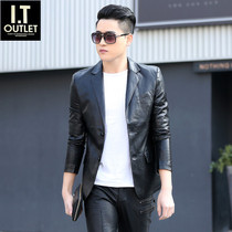 Leather jacket men 2019 spring and autumn new Korean trend leather single West slim short handsome suit small suit