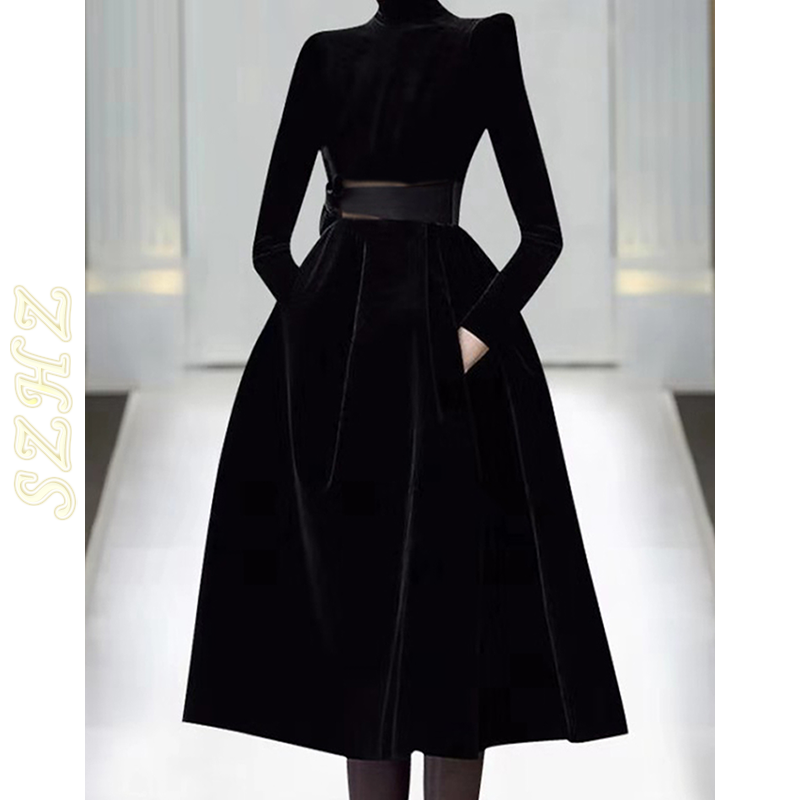 Counters 2020 autumn and winter new high-end women's fashion catwalk skirt black velvet dress with thin temperament