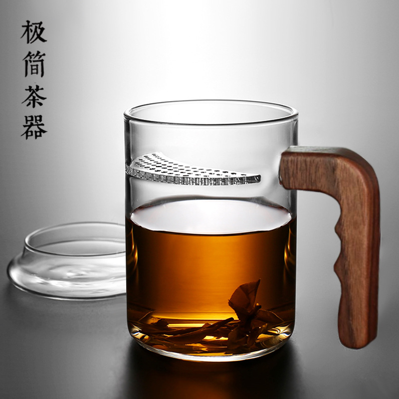 Praise transparent teacup filter high temperature glass make green tea cup office cover put home mens and womens cups