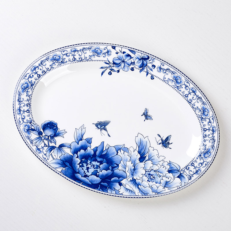 Big fish dish microwave oven suitable for Jingdezhen ceramics device 12 inch Bone China dish elliptical fish dish
