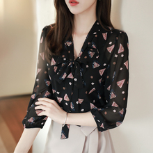 Long-sleeved chiffon blouse lady spring and autumn 2019 new style 100-tie shirt fashion bottom shirt