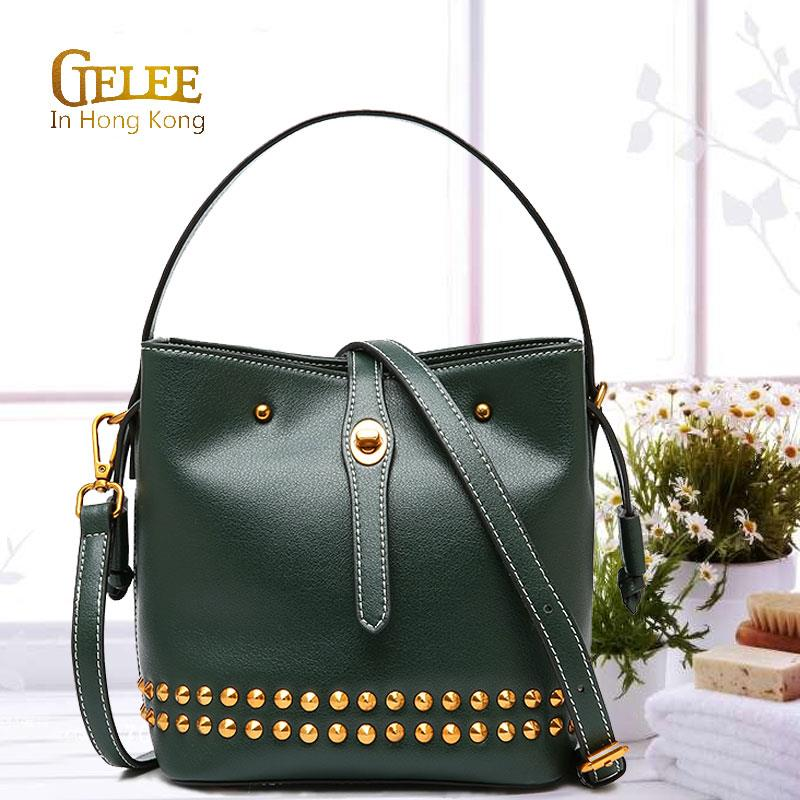 Bag female 2018 new leather female bag rivet bucket bag trend single shoulder Messenger bag wild portable ladies bag