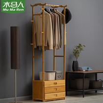 Cheval personnes simple manteau rack en bois massif chambre cintres placard étage vêtements sac ménage simple moderne