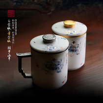 Du Jingshan fang sheep fat jade white porcelain office cup with lid filter ceramic tea cup Tea water separation Jingdezhen water cup