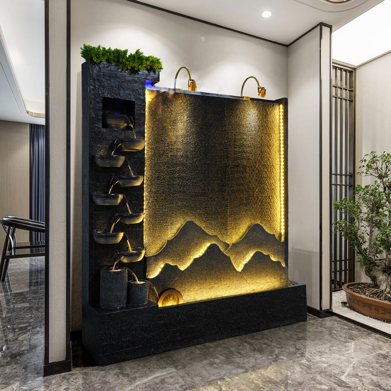 European-style fake mountain fountain ornaments Xuanguan water curtain wall screen restaurant cut off the floor to attract money water landscape decoration