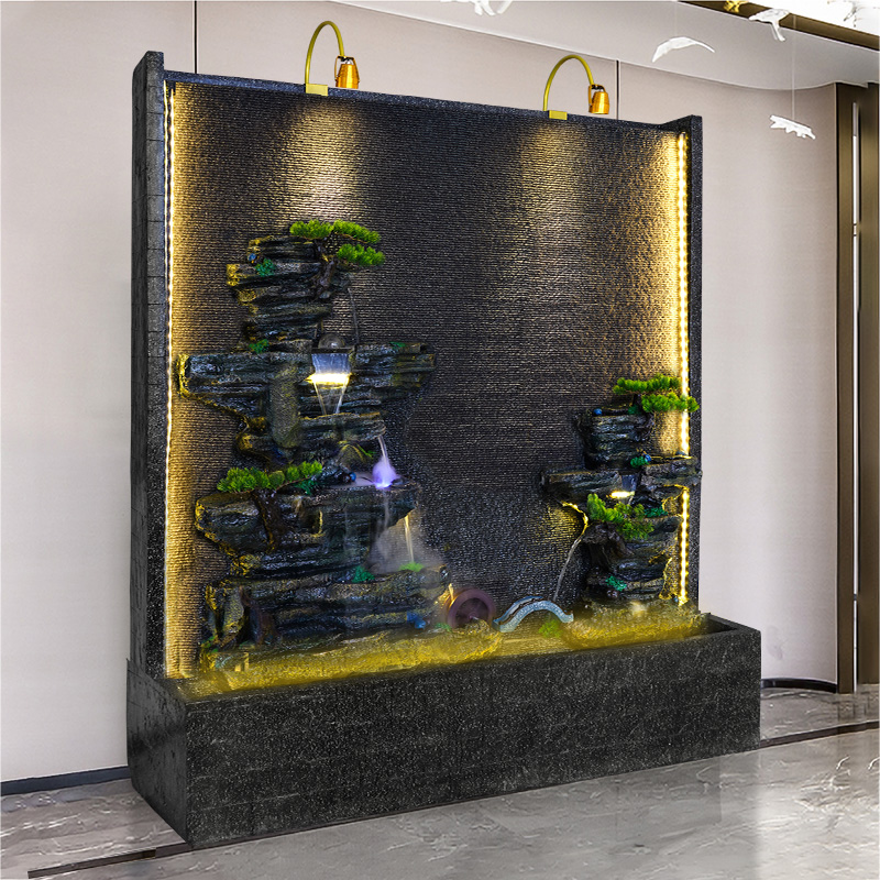 Water curtain wall flow wall company Xuanguan cut-off screen hotel restaurant decoration fake mountain fountain floor-to-ceiling landscape ornaments