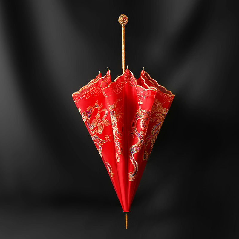High-end wedding red umbrella wedding umbrella bride umbrella red wedding with a large red umbrella Chinese wedding red umbrella out of marriage