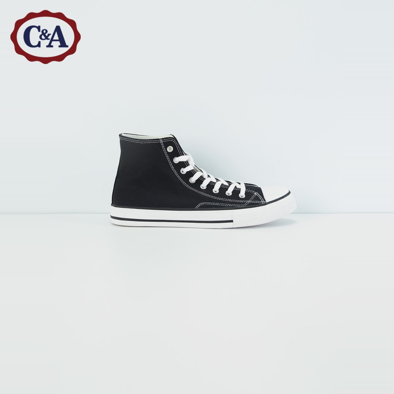 C & a trend high top lace up sneakers for male students 2020 spring new black canvas shoes ca200224364