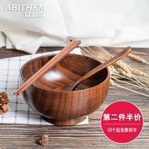 Ann must enjoy solid wood birch bowl adult childrens wooden tableware set large Japanese wooden rice bowl home.