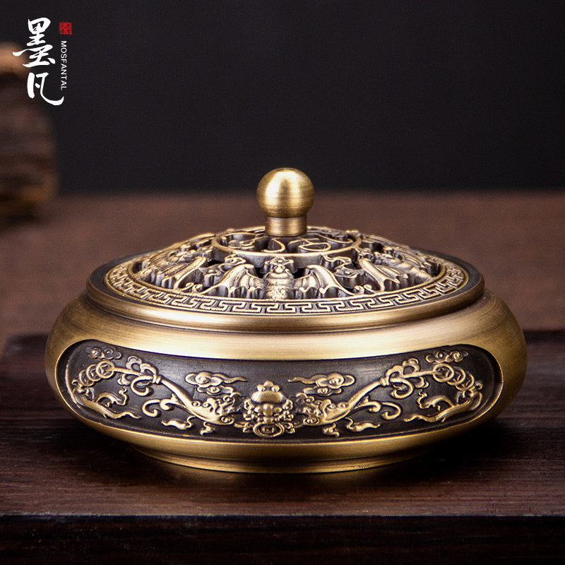 Mofan pure copper household dish incense stove, sandalwood incense incense incense stove creative decoration imitating ancient Zen incense road incense stove