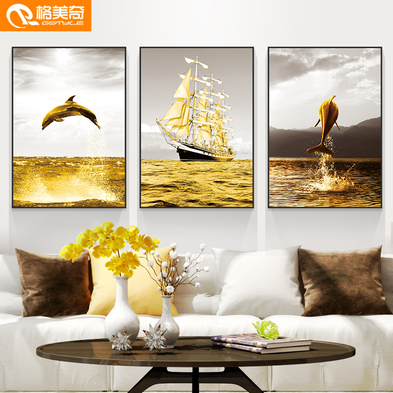 Nordic Living Room Decoration Painting Modern Simple Sofa Background Wall Triple Painting Black and White Landscape Painting Restaurant Murals
