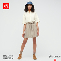 Uniqlo (cooperation)womens linen blend pleated shorts (summer casual light and light) 438109