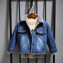 Boys' jeans, cowboy jackets, autumn winter wear, 2018 new children's down jacket, thickened Korean version, baby's leisure tide.