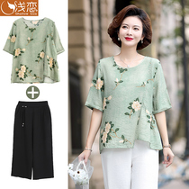Mom foreign style cotton linen top clothing Middle-aged womens summer cotton silk short-sleeved T-shirt middle-aged thin cotton suit