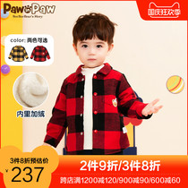 Pawin Paw Cartoon Cub Childrens Wear 2020 New Baby Boys and Girls Plus Velvet Grid Shirt Cub Top