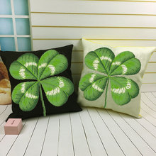 New rural style four leaf grass cross stitch pillow living room sofa cushion