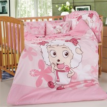 Clearance specials cotton baby bedding childrens cartoon goat goat lounging seven-piece set