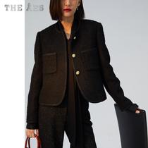 AES original bag imported tweed fabric rich texture elegant black gold lady style classic elegant square box jacket