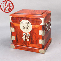 Mahogany Jewelry box chinese antique wedding wooden tenon socket storage Box Big red acid branches solid wood jewelry box with lock