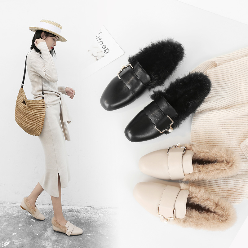 Mo Lin's new round-headed rabbit hair warm wool shoes for winter 2019, flat sole single shoes, fashionable shallow-mouthed leather women's shoes