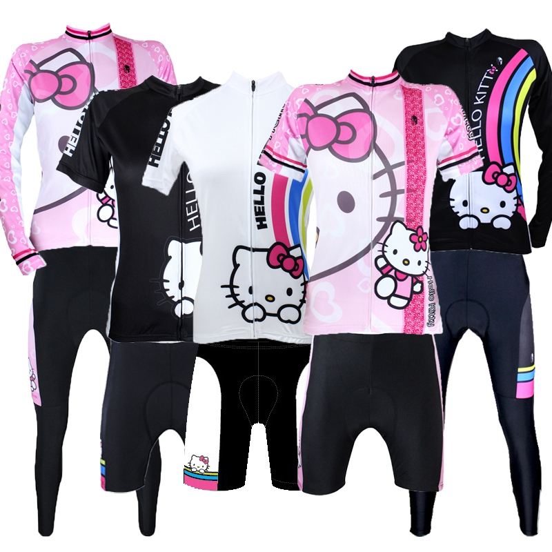Cartoon HelloKitty cute Spring and summer Autumn riding suits Women's long sleeve short sleeves custom