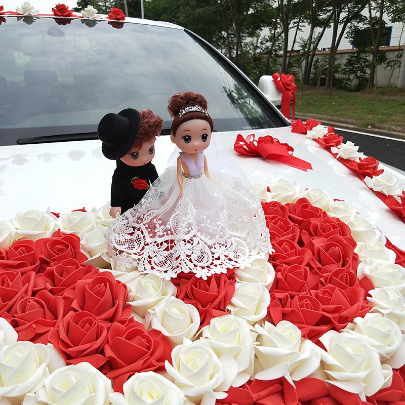 Atmosphere main knot wedding car decoration set net red personality creative wedding supplies car paste worry convenient flower car set