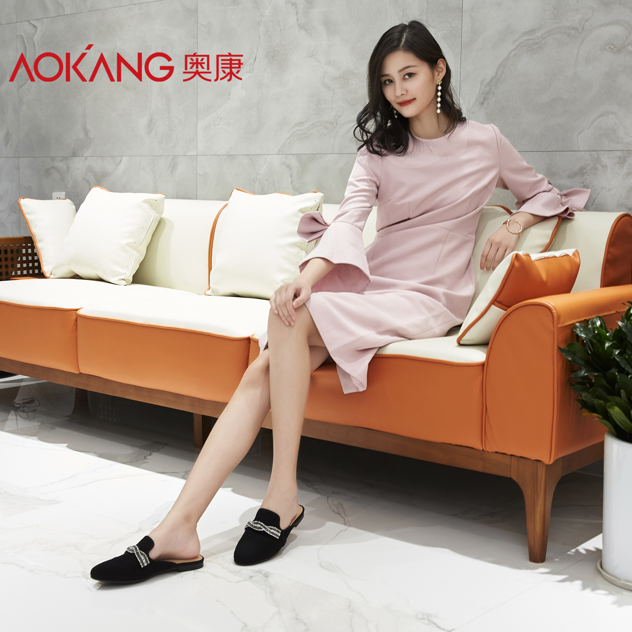 Aokang women's shoes 2018 spring and summer new fashion sheep suede wear Muller shoes female rhinestones Baotou flat slippers