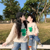High-end parent-child wear mother and child sweater 2019 new one three spring and autumn cartoon leisure mother and daughter wear western spring