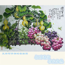 Chinese restaurant decoration painting Hand-painted Chinese painting Gourd Grape celebrity calligraphy and painting True Feng Shui office hanging painting original