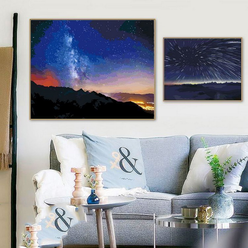 Diy Digital Oil Painting Hand Painting Living Room Decorative Painting Abstract Digital Oil Painting Star Sky Night Scene Constellation Universal Painting