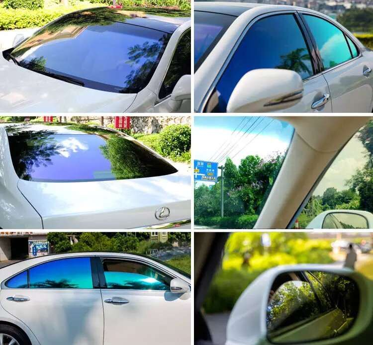 Imported chameleon film purple brilliant blue magic hedgehog front-end full-vehicle laminated explosion-proof and heat-insulating solar film