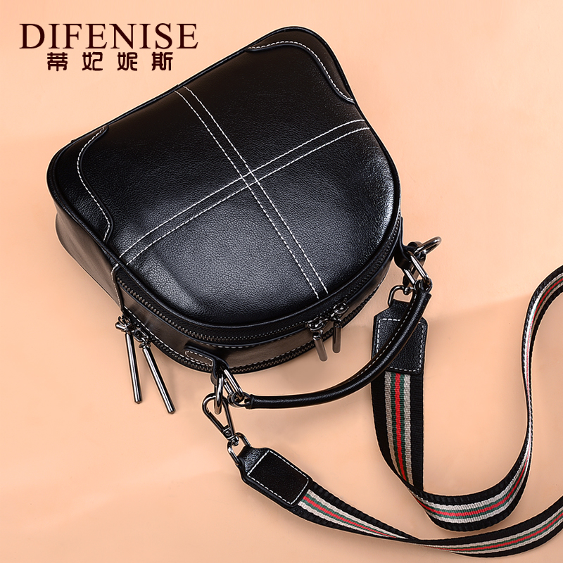 Baggage Girls 2019 New Fashion Genuine Leather Girls Baggage One Shoulder Slant Baggage Korean Mini Handbag Wide Shoulder Belt