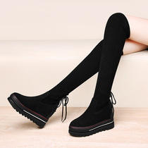 Taiwans Hongying Enterprise Co. Ltd. RD increased over knee-length boots womens thick-bottomed muffin boots 2020 winter.