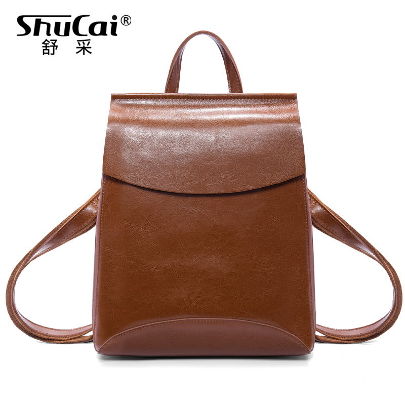 Shu Cai Shoulder Bag Woman Korean Edition Chao 2019 New Women Bag Retro-classic College Style Simple British Cowskin Bag Backpack