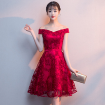 Wine Red one word shoulder party lace evening dress