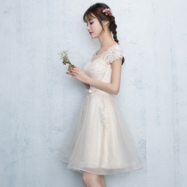 Summer banquet champagne color show thin bridesmaid clothing
